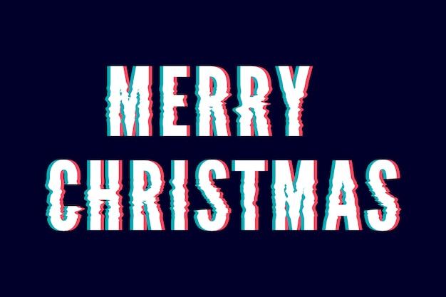 Merry christmas creatieve wenskaart met glitch stijl