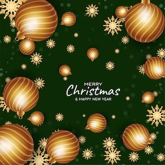 Merry christmas decoratieve kerstballen achtergrond