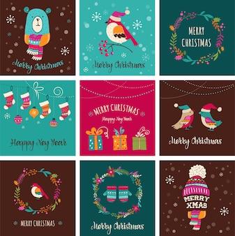 Merry christmas design wenskaarten - doodle s
