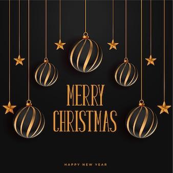 Merry christmas donkere achtergrond met kerstballen en sterren