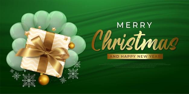Merry christmas donkergroene banner met geschenkdoos gouden sterren en sneeuwvlok vectorillustratie