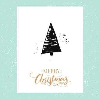 Merry christmas eenvoudige wenskaart met de hand getekende kerstboom. vectorontwerpsjabloon met kalligrafietype.