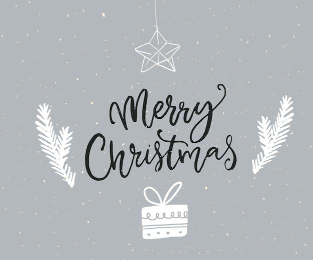 Merry christmas eenvoudige wenskaart met tekeningen van kerstboom takken geschenkdoos en ster