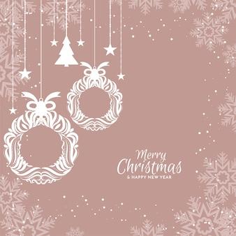 Merry christmas elegante platte ontwerp achtergrond