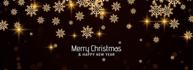 Merry christmas elegante sneeuwvlokken banner