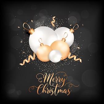 Merry christmas elegante wenskaart met kerstballen en confetti. feestelijke decoratie in witte en gouden kleuren met glitter op zwarte onscherpe achtergrond met gouden letters. wintervakantie ansichtkaart