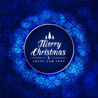 Merry christmas festival blauwe kaart gemaakt met sneeuwvlokken