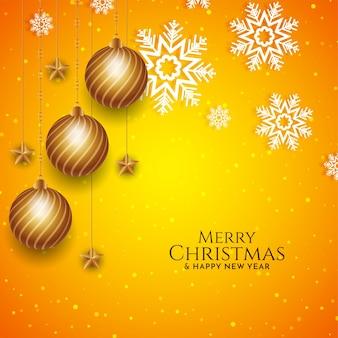 Merry christmas festival gele kleur sneeuwvlokken achtergrond
