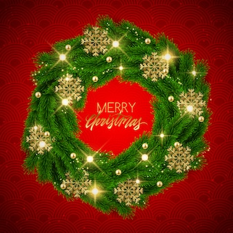 Merry christmas fir tree decoratieve krans, glitter sneeuwvlokken