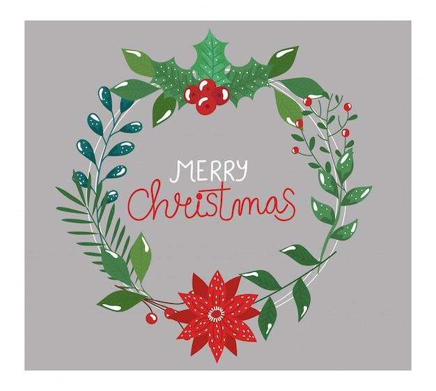 Merry christmas flyer met kroon van bladeren en bloem
