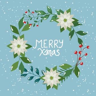 Merry christmas flyer met kroon van bladeren en bloemen