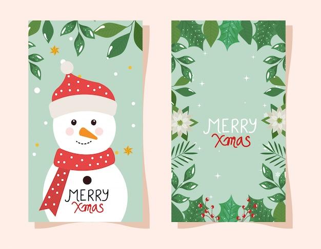 Merry christmas flyer met sneeuwpop en frame van bloemen
