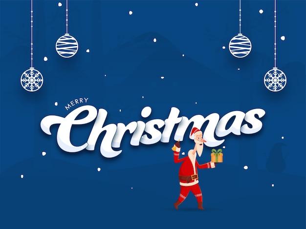 Merry christmas font met santa claus holding gift box, jingle bell en hangende kerstballen op blauwe achtergrond.