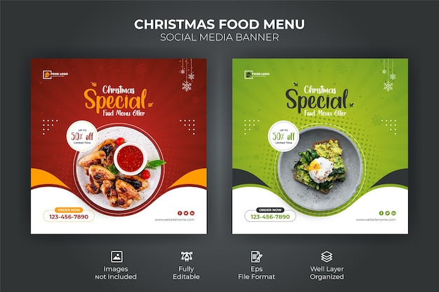 Merry christmas food menu social media banner sjabloon