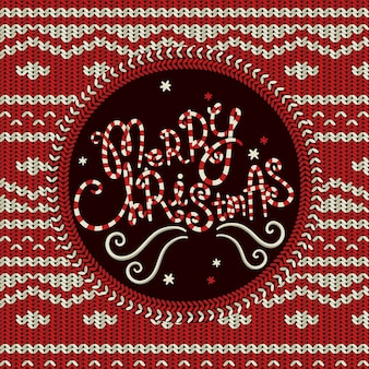 Merry christmas gebreide achtergrond in rood en wit
