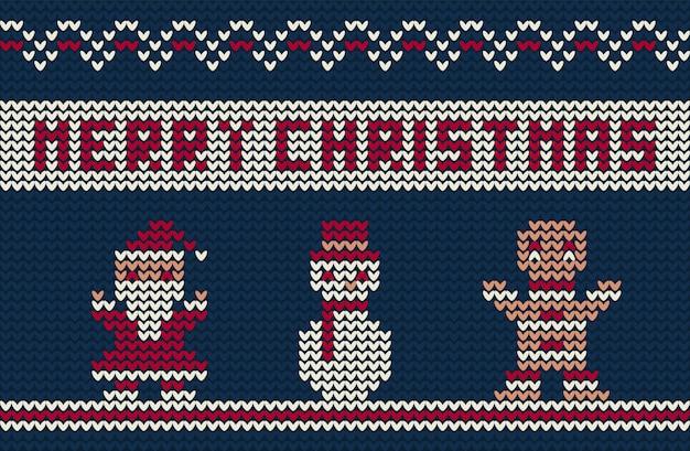 Merry christmas gebreide achtergrond met schattige karakters