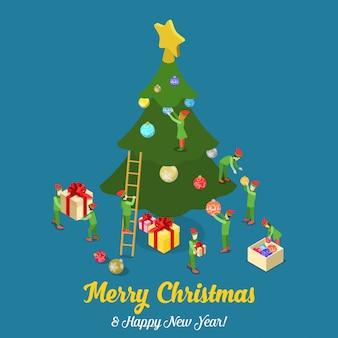 Merry christmas gelukkig nieuwjaar isometrische vector illustratie kaart