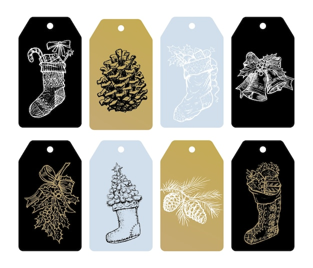 Merry christmas gift tags etiketten van kerstboom vergulden ornamenten