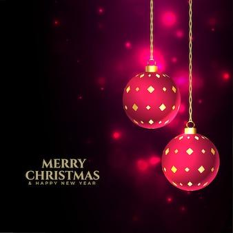 Merry christmas glanzende achtergrond met kerstballen decoratie