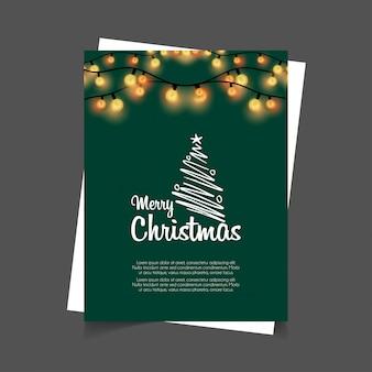 Merry christmas gloeiende lichten groene achtergrond