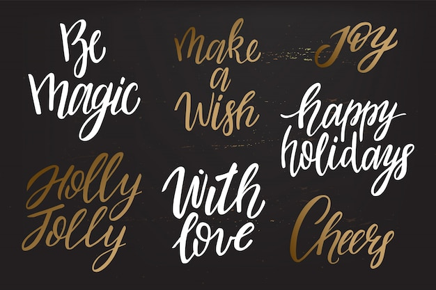 Merry christmas gold belettering collectie