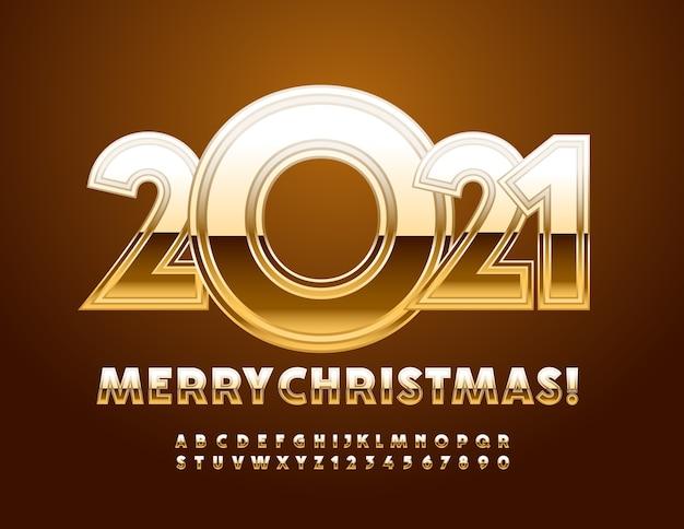 Merry christmas gold glanzende alfabetletters en cijfers ingesteld