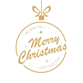 Merry christmas golden bauble groeten geïsoleerde achtergrond