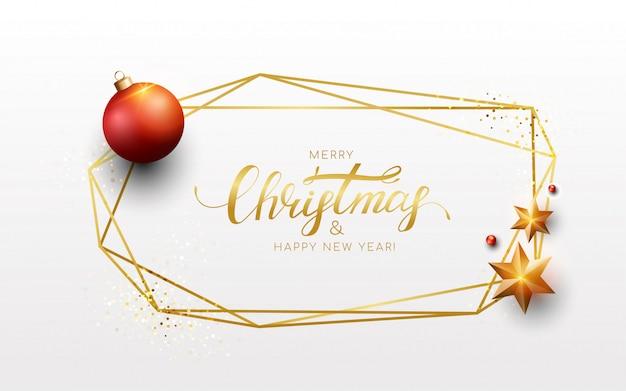 Merry christmas gouden geometrische frame met rode ballen, gouden ster, glitter. nieuwjaarsjabloon wenskaart.