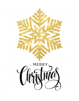 Merry christmas gouden glinsterende letters