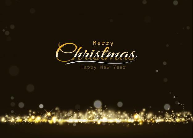 Merry christmas gouden glinsterende lichte bokeh glanzende, sprankelende luxe