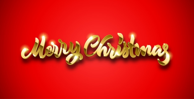Merry christmas gouden letters met volume en glanzende sparkles op rode achtergrond
