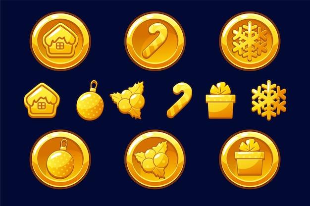 Merry christmas gouden munten. gelukkig nieuwjaarsmuntstuk. gouden illustraties voor assets-spel. objecten op een aparte laag.