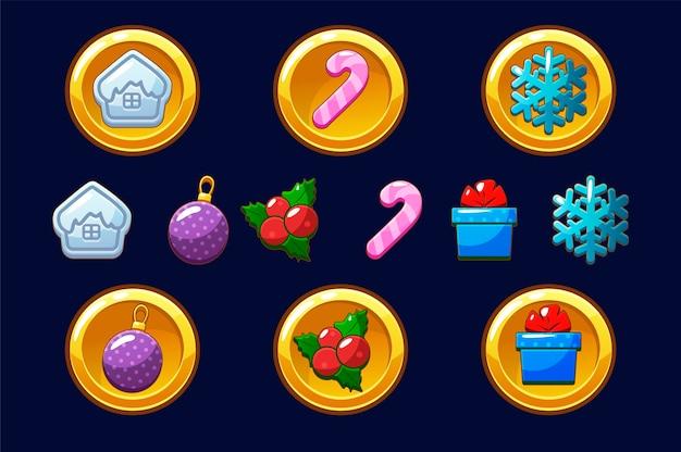 Merry christmas gouden munten. gelukkig nieuwjaarsmuntstuk. stel pictogrammen voor activa 2d-spel