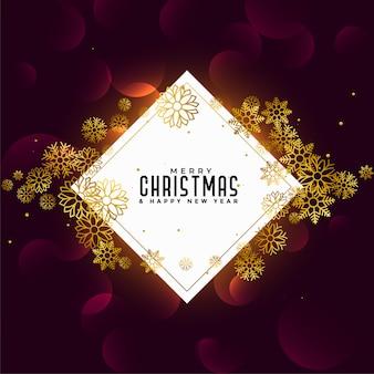 Merry christmas gouden sneeuwvlokken achtergrond