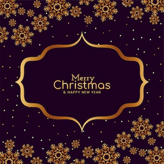 Merry christmas gouden sneeuwvlokken kaart