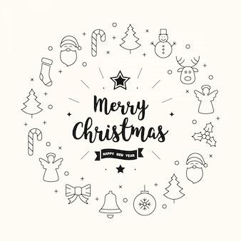 Merry christmas greeting pictogrammen elementen cirkel achtergrond