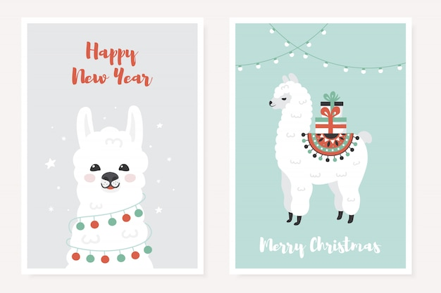 Merry christmas greeting posters set with cute llama.