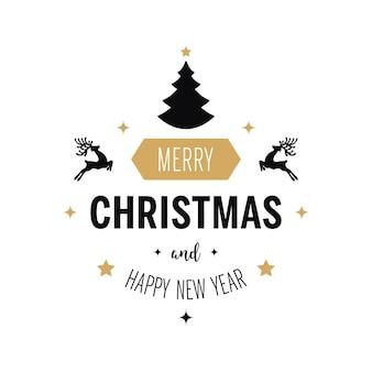 Merry christmas greeting tekst ornamenten gouden witte achtergrond