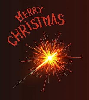 Merry christmas greeting text sparkler burns fire