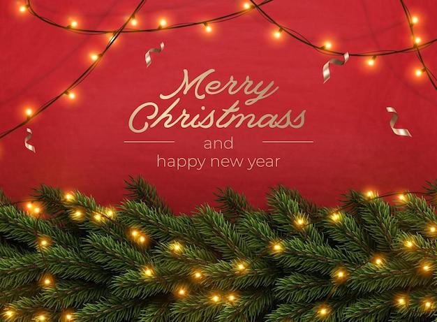 Merry christmas groet banner met chrirstmas decor fir twijgen en confetti, vectorillustratie.