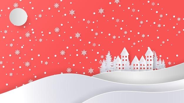 Merry christmas groet ontwerpsjabloon, papier kunststijl.