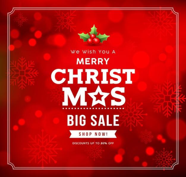 Merry christmas grote verkoop met sneeuwvlok
