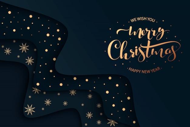 Merry christmas hand belettering achtergrond met kerstballen en lichten