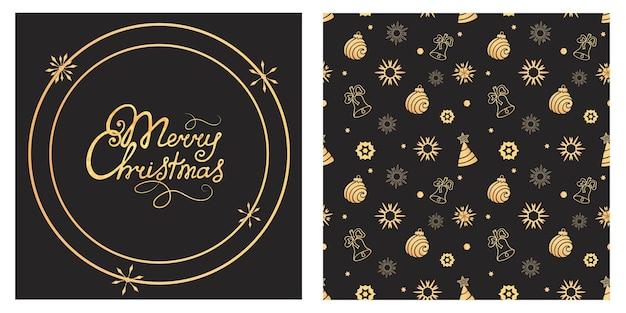 Merry christmas hand belettering. bal, bel, sneeuwvlok naadloos patroon. vakantie achtergrond, cadeaupapier.