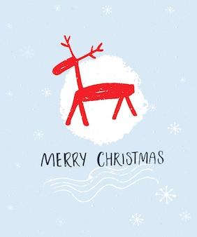 Merry christmas hand belettering en met de hand getekende illustratie van edelherten op blauwe achtergrond.