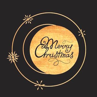 Merry christmas hand belettering. gouden textuur. ontwerp van een wenskaart voor de nieuwjaarsvakantie.