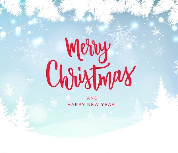 Merry christmas hand belettering op achtergrond met sneeuwvlokken wazig. typografie voor kerst- en wintervakantie wenskaart, uitnodiging, banner, briefkaart, web, poster sjabloon.