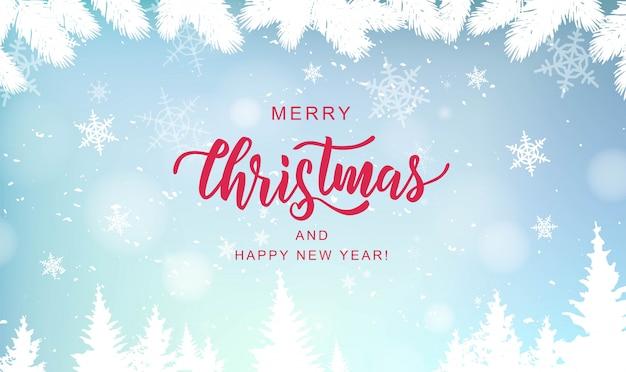 Merry christmas hand belettering op achtergrond met sneeuwvlokken wazig.