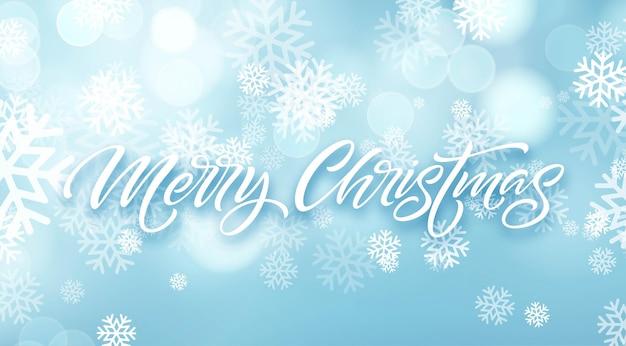 Merry christmas hand getekende letters in sneeuwvlokken frame. xmas geïsoleerde kalligrafie in ronde frame. kerst bevroren belettering in sneeuwval. xmas ijzige kalligrafie. banner, poster winterontwerp. vector