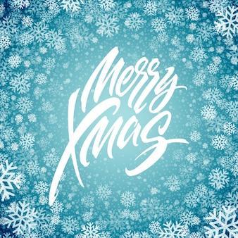 Merry christmas hand getekende letters in sneeuwvlokken frame. xmas ijzige kalligrafie. kerst bevroren belettering in sneeuwval. xmas geïsoleerde kalligrafie in ronde frame. banner, poster winterontwerp. vector